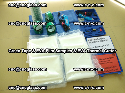 EVA FILM samples, Green tapes, EVA thermal cutter, for safety glazing (2)